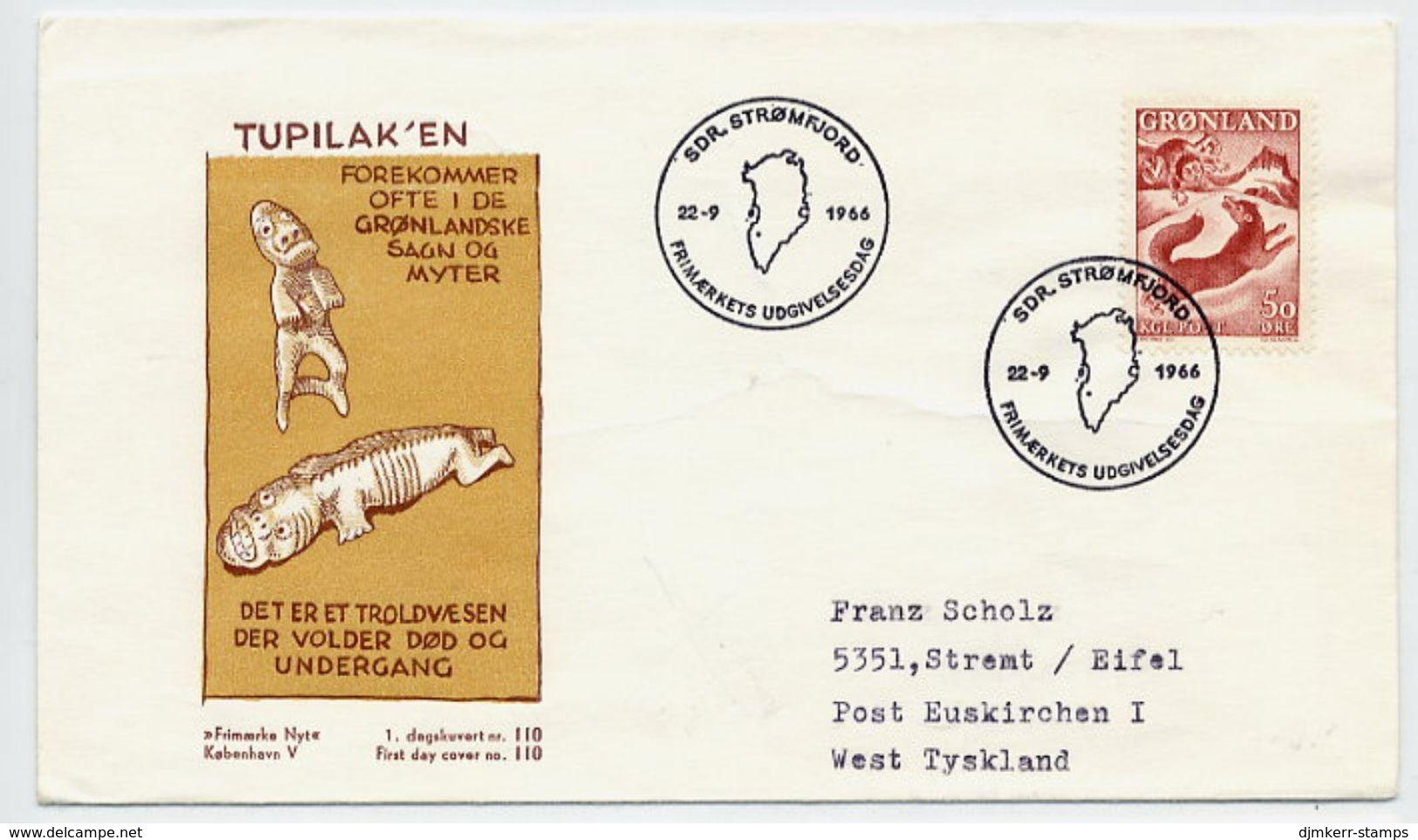 GREENLAND 1966 Greenlandic Sagas III On FDC.  Michel 66 - FDC