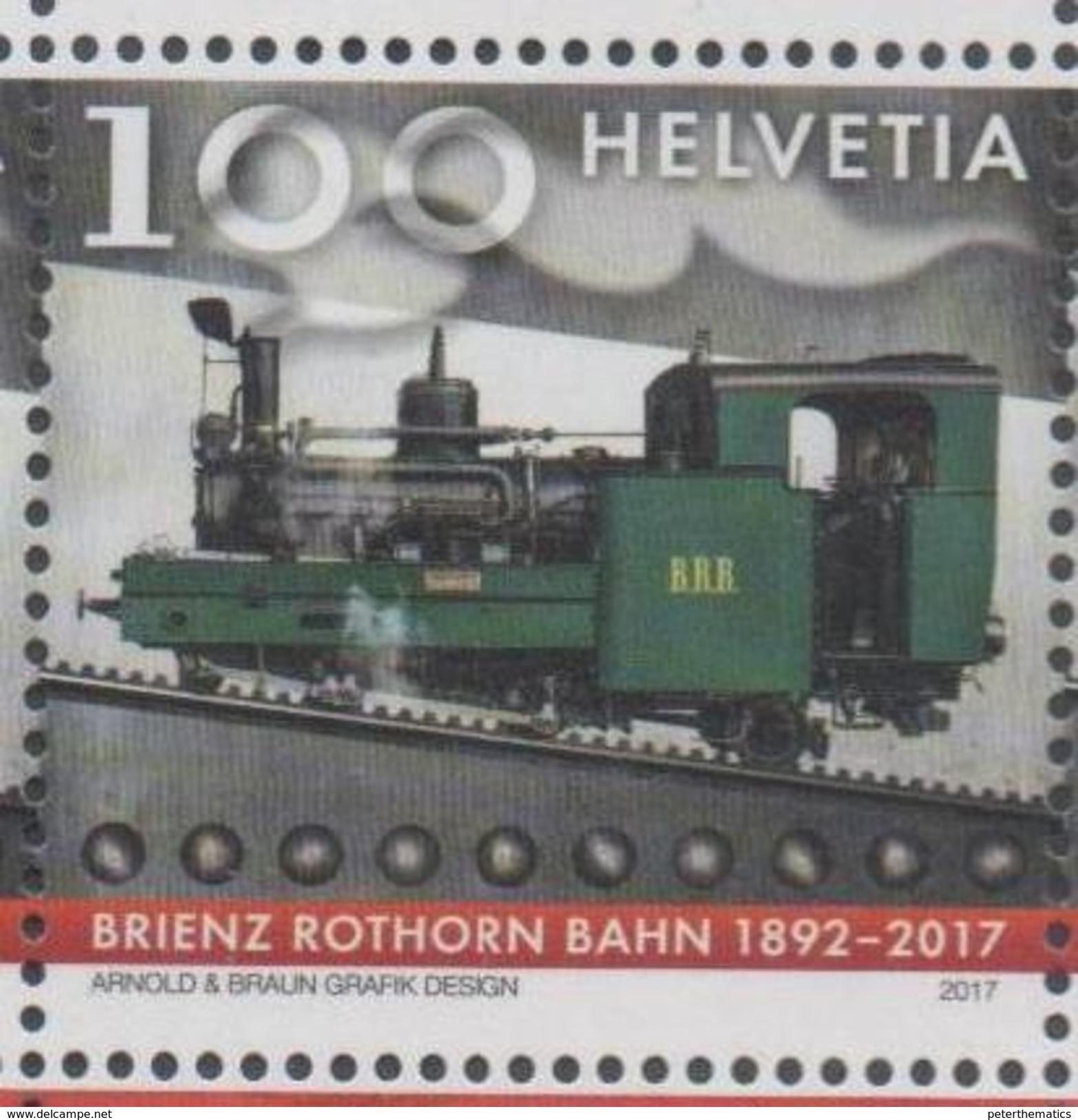 SWITZERLAND, 2017, MNH,TRAINS, MOUNTAINS, BRIENZ ROTHORN BAHN, 1v - Trains