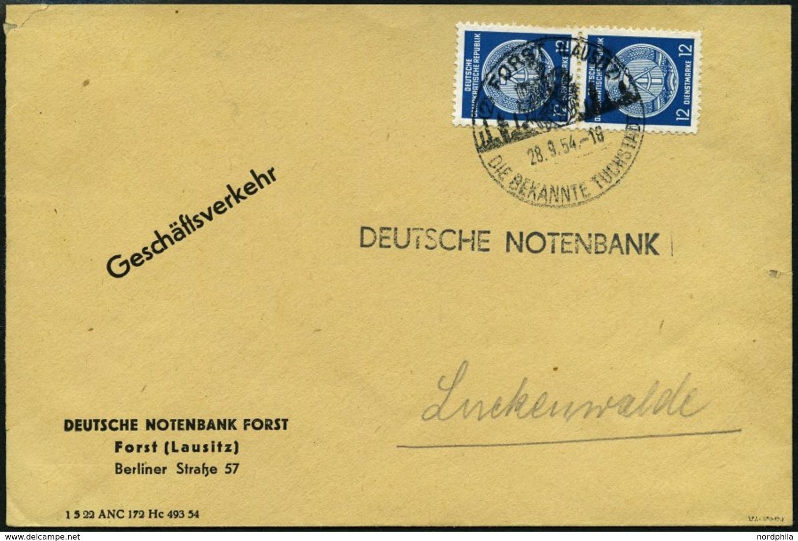 DIENSTMARKEN A D 20XI  Paar BRIEF, 1954, 12 Pf. Schwärzlichpreußischblau, Wz. 2XI, Im Senkrechten Paar Auf Geschäftsbrie - Dienstpost