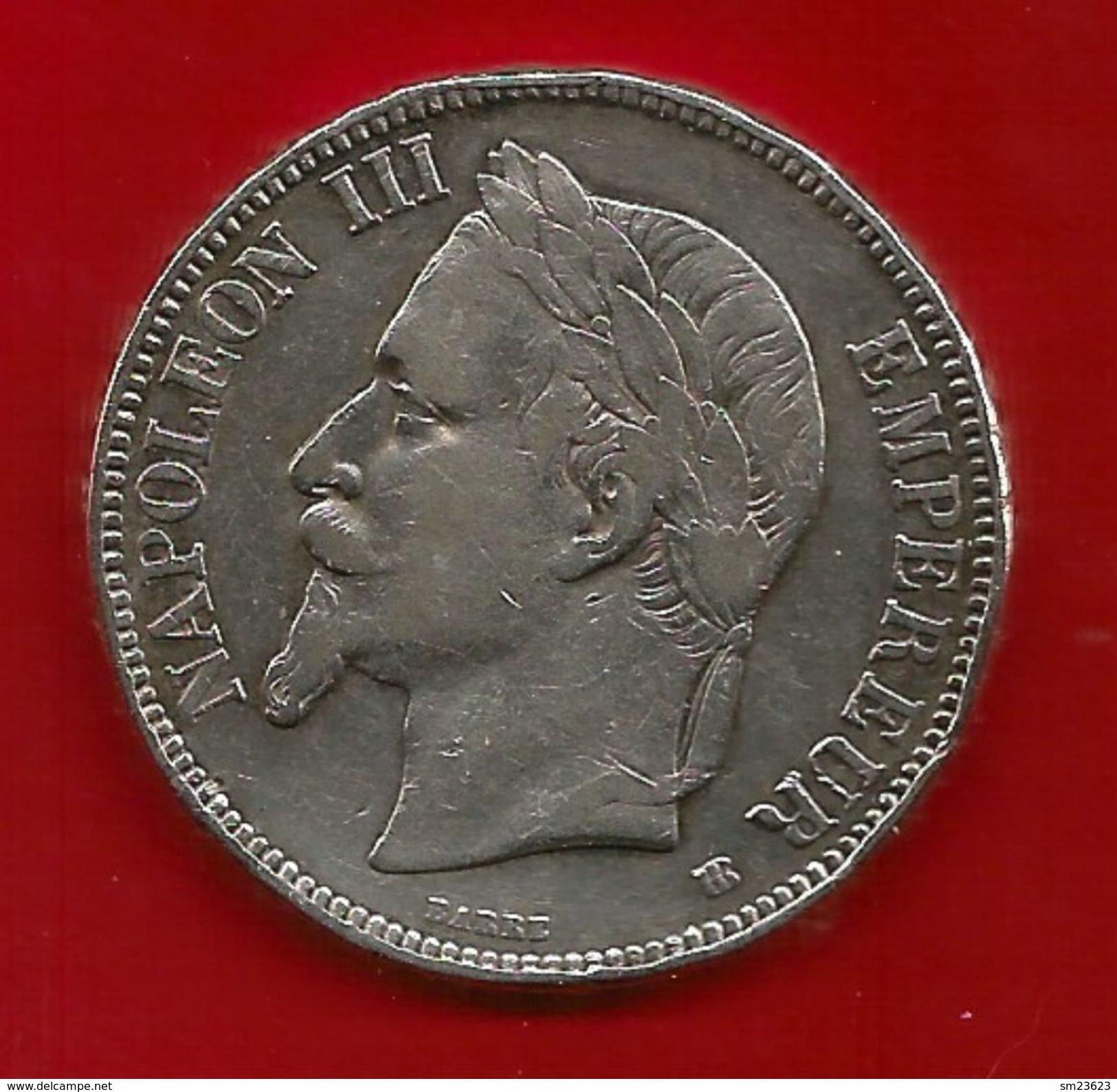 Frankreich 1869 (BB) , Empire Francais - Napoleon III Empereur - Silbermünze - - J. 5 Francs