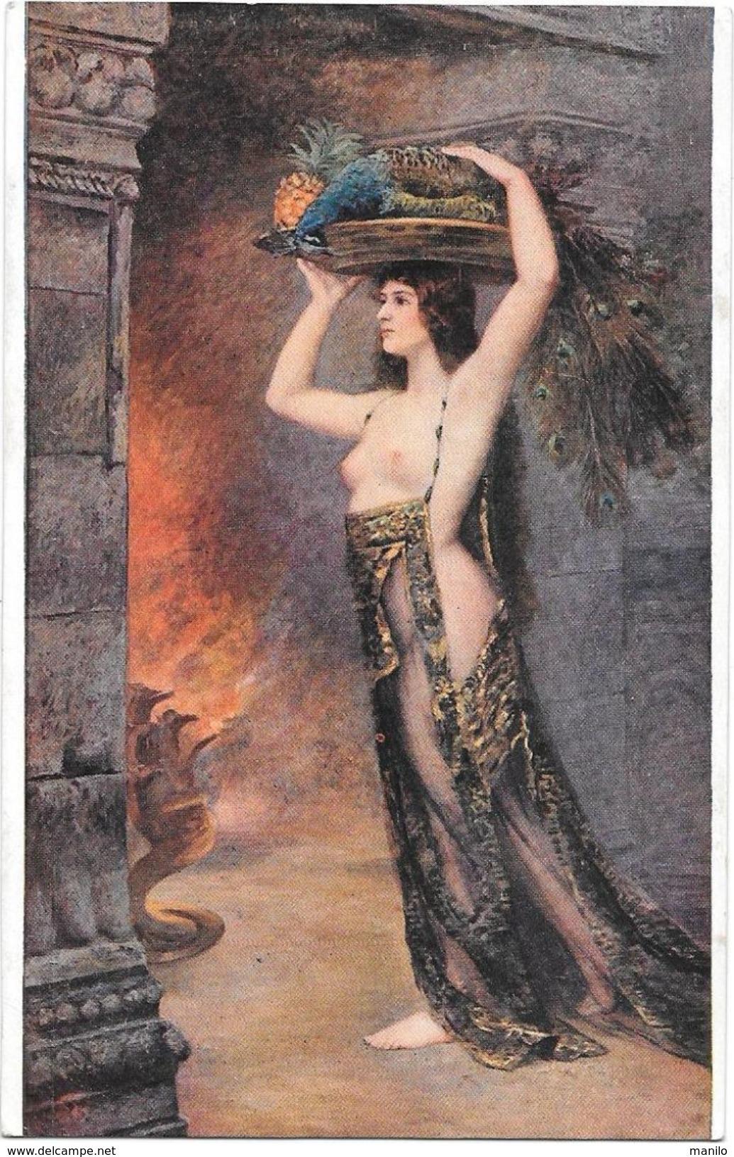 PORTEUSE D'OFFRANDES - FEMME NUE Sous Un VOILE Porte Un PAON MORT - Tableau De CONSUELO FOULD Salon De Paris  -NOYER Edi - Women