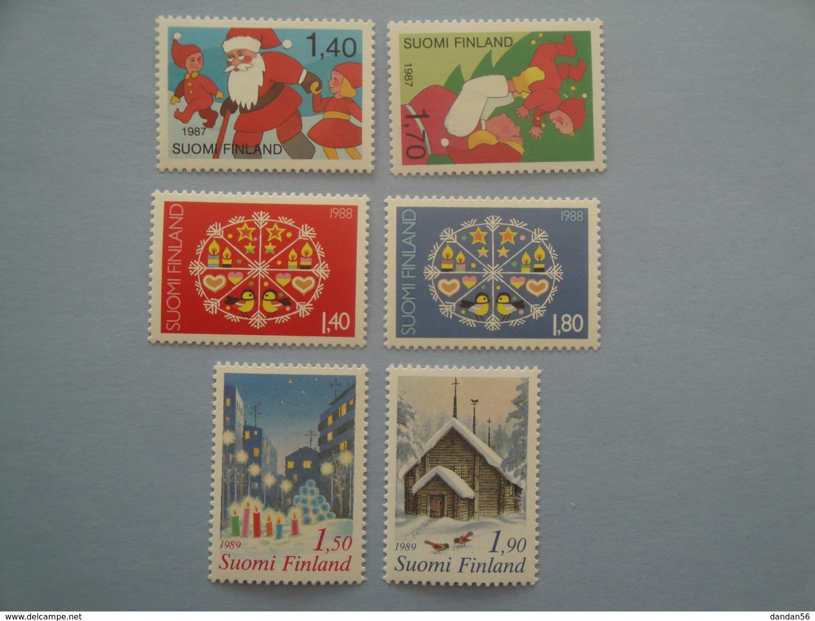 1987 / 88 / 89 Finlande Noël Christmas Yv 996/7 + 1030/1 + 1062/3 **  Michel 1032/3 + 1066/7 + 1096/7 - Finlande