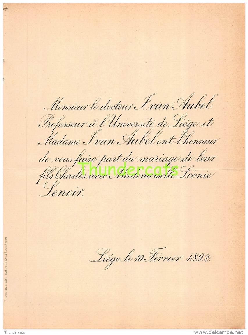 FAIRE PART MARIAGE DOCTEUR IVAN AUBEL CHARLES LEONIE LENOIR LIEGE 1892 - Mariage