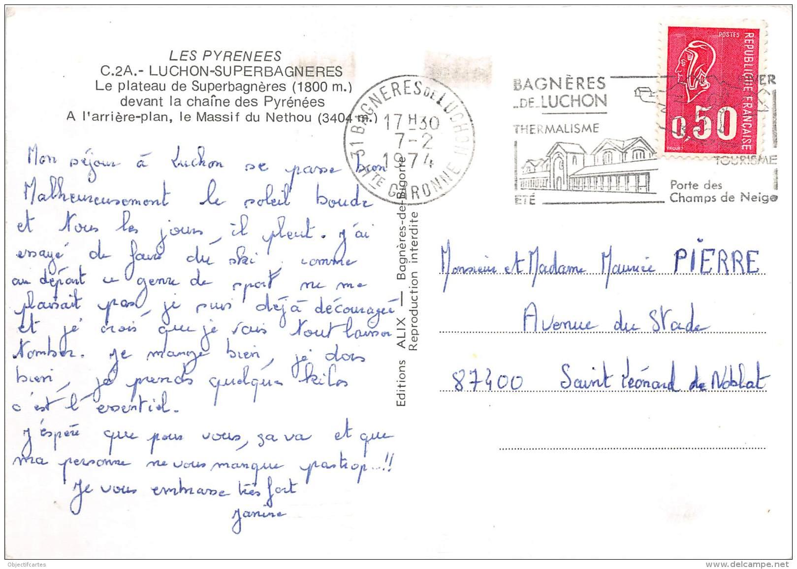 LUCHON SUPERBAGNERES Le Plateau De Superbagneres Devant La Chaine Des Pyrenees 26(scan Recto-verso) MA1116 - Luchon