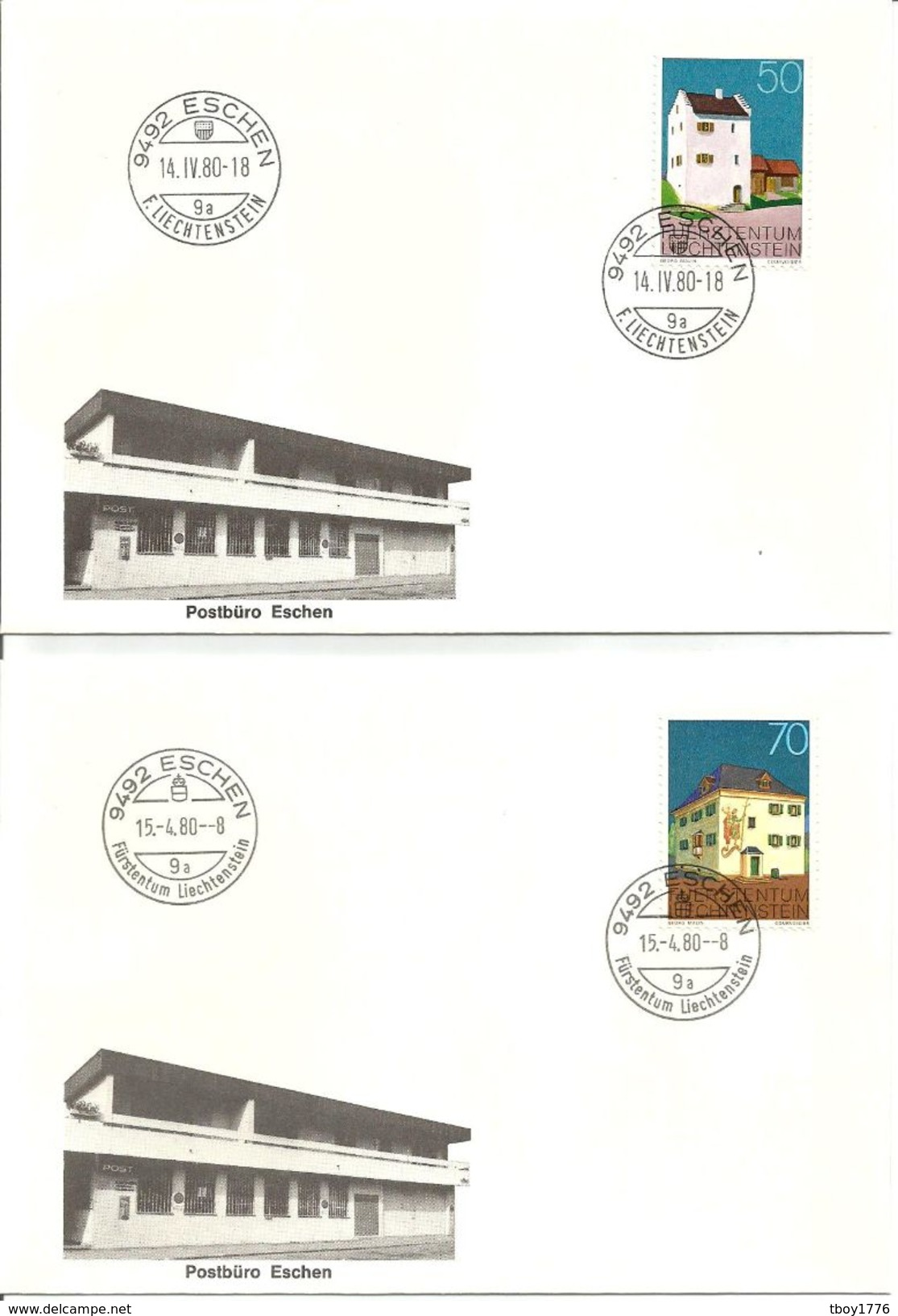 "LIE ENVELOPPES SPECIALES 14 AVRIL 1980 ""COLLECTION COMPLETE CHANGEMENT DE CACHET POSTAL"" - Liechtenstein"