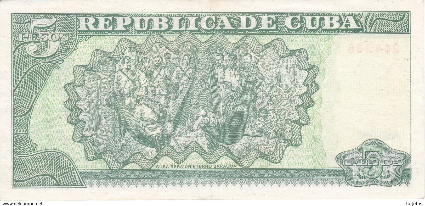BILLETE DE CUBA DE 5 PESOS DEL AÑO 1997 DE ANTONIO MACEO EN CALIDAD EBC (XF)  (BANKNOTE) - Cuba