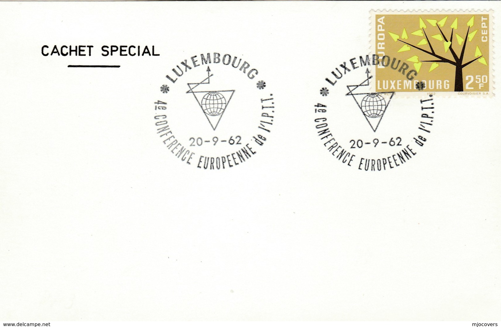 1962 LUXEMBOURG EVENT European  IPTT CONFERENCE Card Europa Stamps Telecom - Covers & Documents