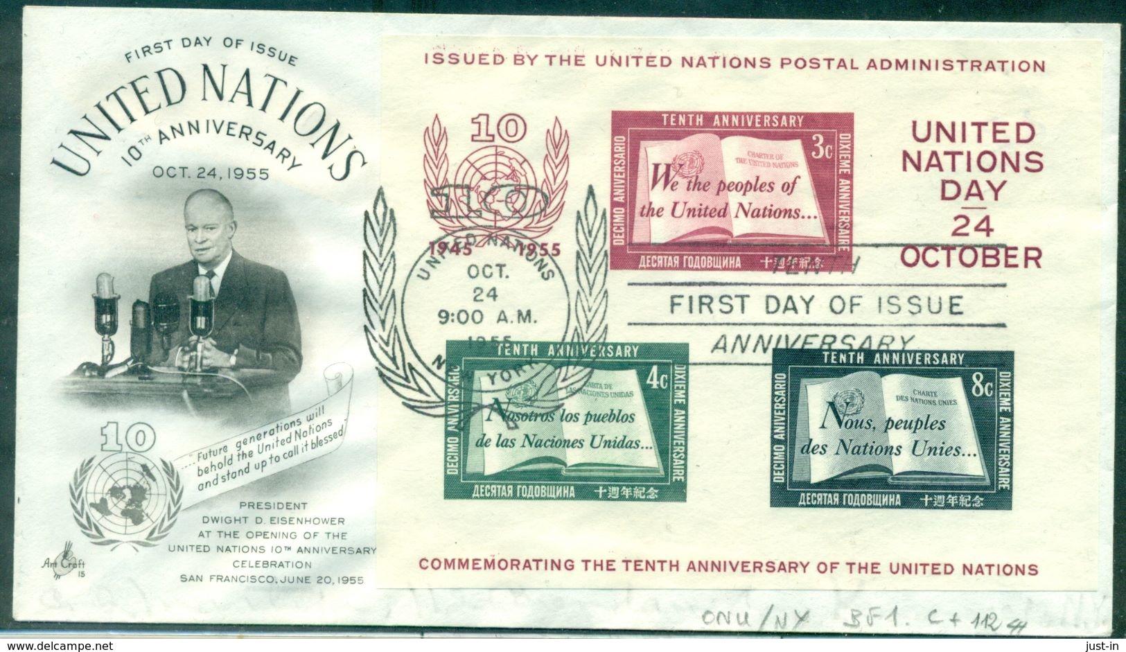 O.N.U. N.Y. BF N°1 SUR FDC . TB. Cote 112.00 € . - Cartas