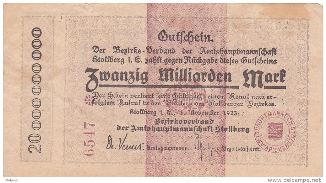 Billet De Zwanzig Milliarden Mark - Stadt STOLBERG - 1923 - 20 Milliarden Mark