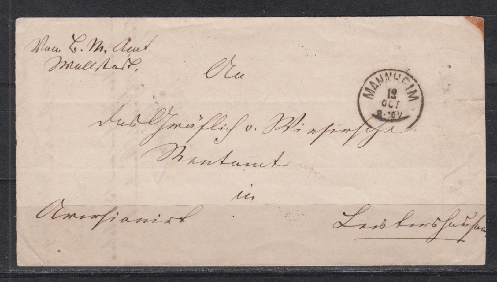 Baden Faltbriefhülle 1869 Von Mannheim Mit Rs Transir-o Weinheim Und Weinheim/Postablage Grosssachsen - Baden
