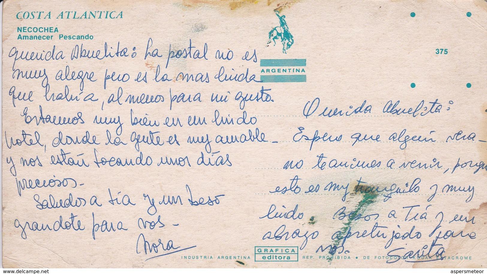 NECOCHEA. AMANECER PESCANDO. GRAFICA EDITORA. SUNRISE. VOYAGEE. ARGENTINE -BLEUP - Argentina