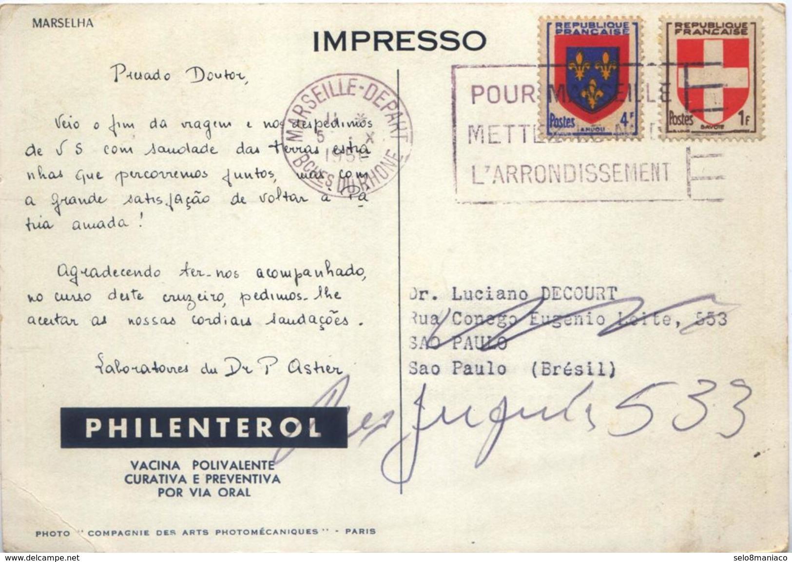 X1420-France-Hello Doctor Postcard From Marseille To São Paulo, Brazil-1950 - France