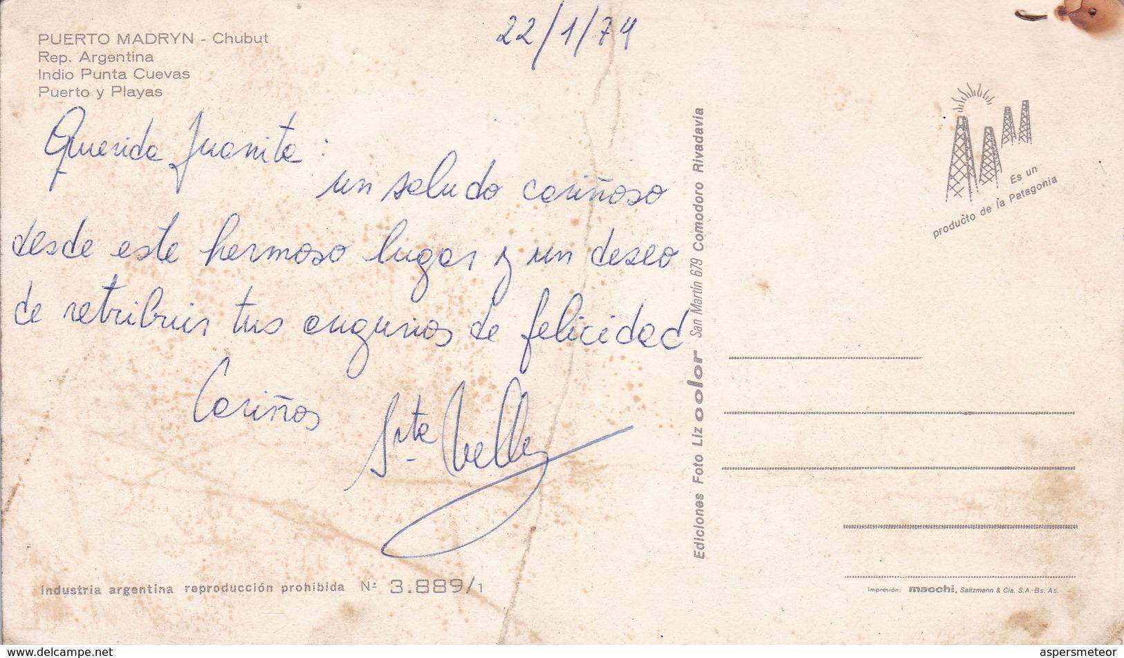 PUERTO MADRYN, CHUBUT. INDIO PUNTA CUEVAS, PUERTO Y PLAYAS. EDICIONES FOTO LIZ COLOR-ARGENTINE-BLEUP - Argentina