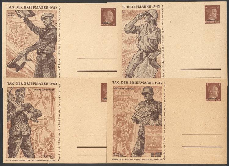 UKRAINE: Stamp Day 1942: 4 Illustrated Postal Cards, Excellent Quality! - Ukraine