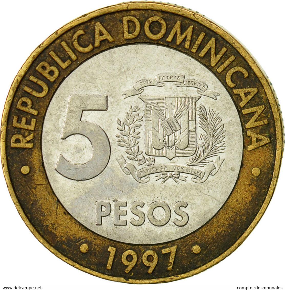 Dominican Republic, 5 Pesos, 1997, TTB, Bi-Metallic, KM:88 - Dominicaine
