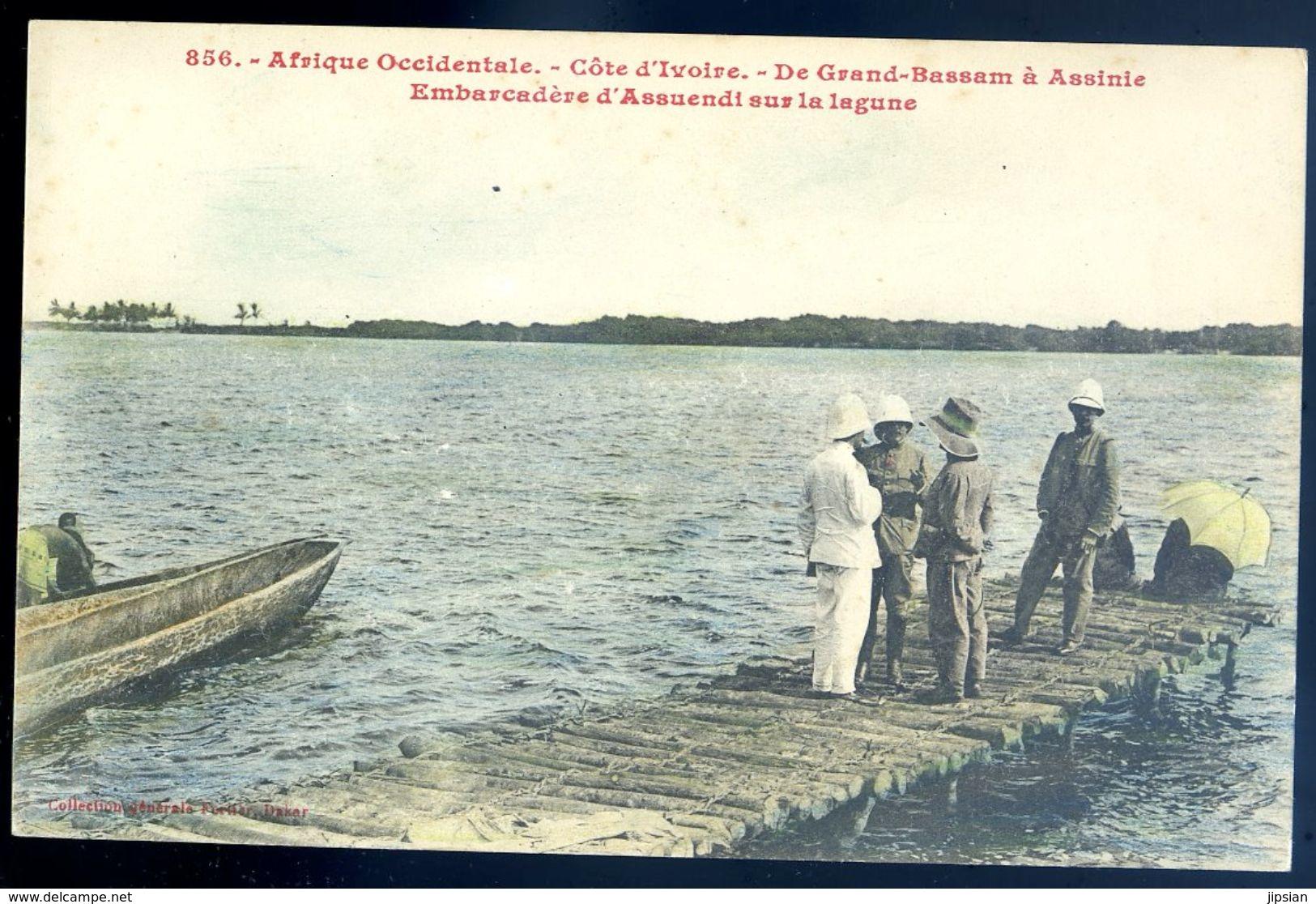 Cpa  Côte D' Ivoire De Grand Bassam à Assinie -- Embarcadère D' Assuendi Sur La Lagune    Sep17-80 - Côte-d'Ivoire