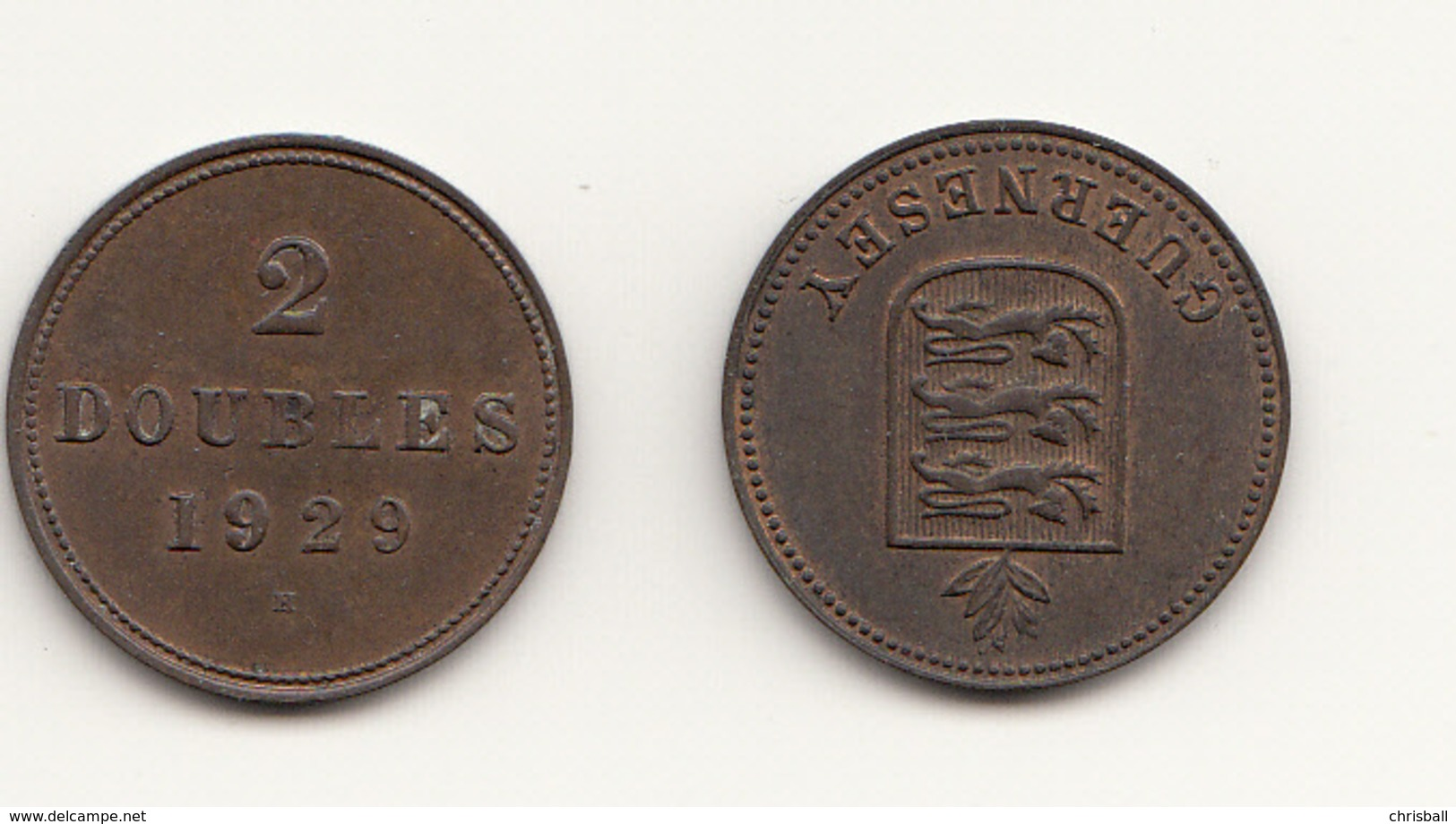 Guernsey Coin 2double 1929 - Guernesey