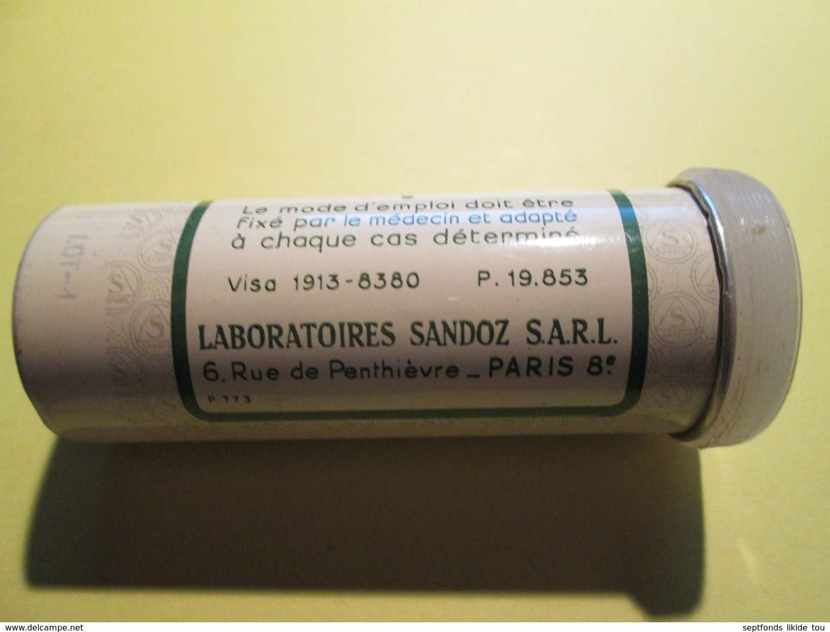"""BOITE EN FER """"SEDANTOÏNAL""""  Laboratoire Sandoz 7 Cm De Haut (plusieurs Scans) - Dosen"""