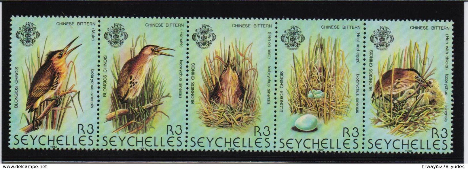 Seychelles 1982, Birds, Complete Set In Strip, MNH. Cv 18 Euro - Seychelles (1976-...)