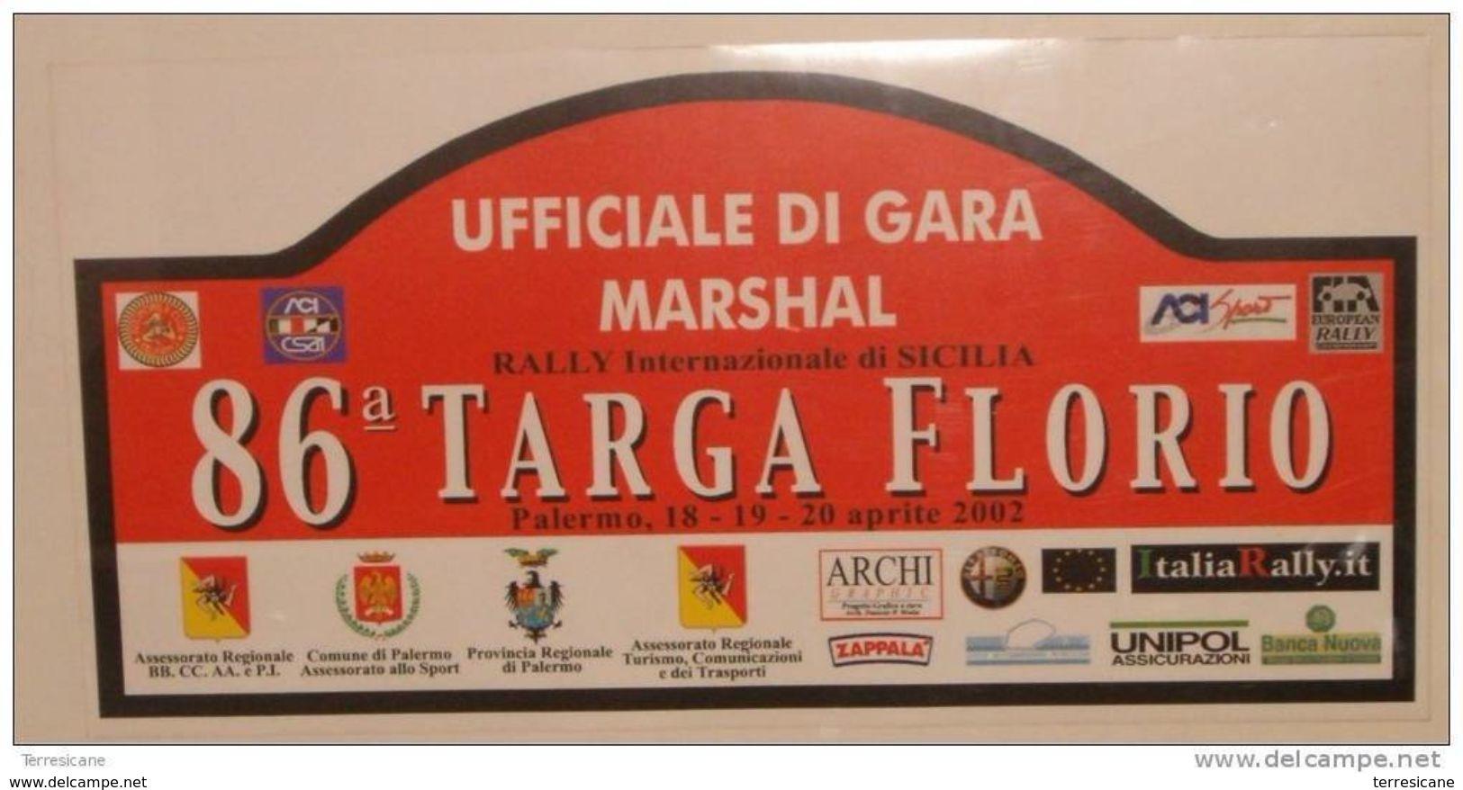 X BIG Cm 20X39 Adesivo Stiker Etiqueta PLACCA RALLY 86 TARGA FLORIO MARSHAL - Non Classificati