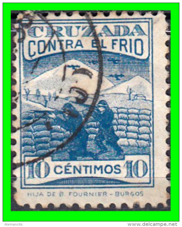 SELLO GUERRA CIVIL SOLDADO BURGOS  DIVISIÓN NAVARRA EN HUESCA 1938. CRUZADA CONTRA EL FRÍO.10 Ctms - Impuestos De Guerra
