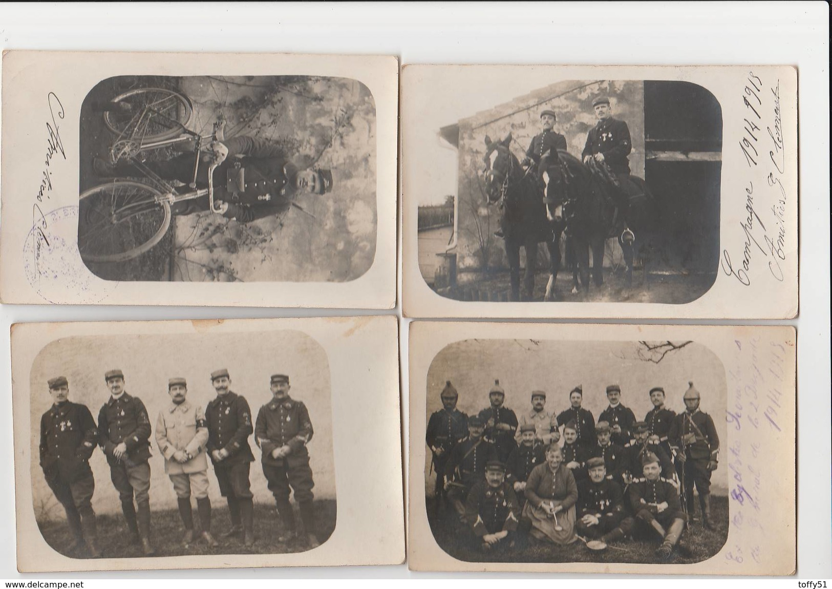 4 CARTE PHOTO:PORTRAIT MILITAIRE SUR CHEVAUX,MILITAIRE ET SON VÉLO,FEMME AVEC LA 2èmeBRIGADE DE DRAGONS 1914-15,ETC... - Militaria
