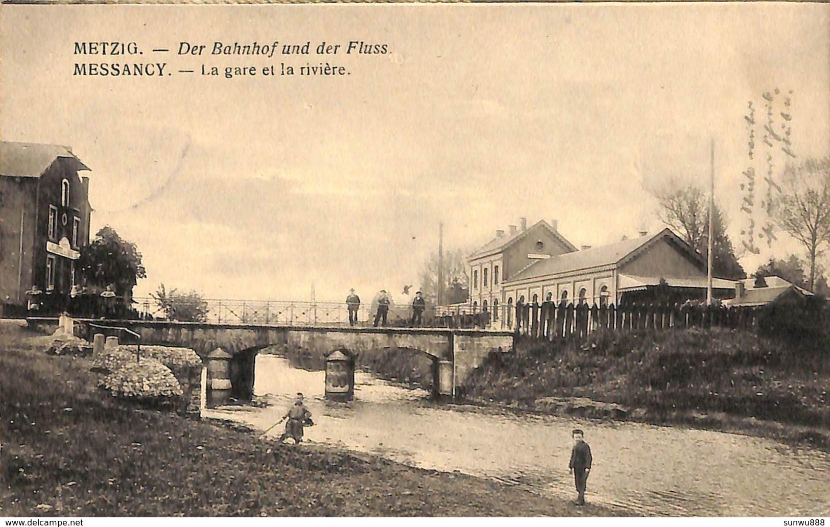 Messancy - La Gare Et La Rivière (animée, Feldpost, 1918) - Messancy