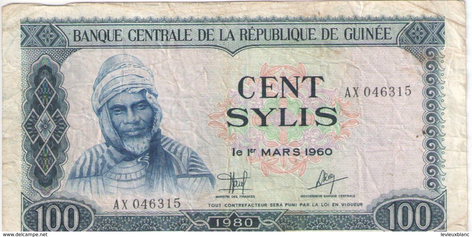 100 SYLIS/Banque Centrale De La République De GUINEE//1960- 1980                                             BILL172 - Guinea