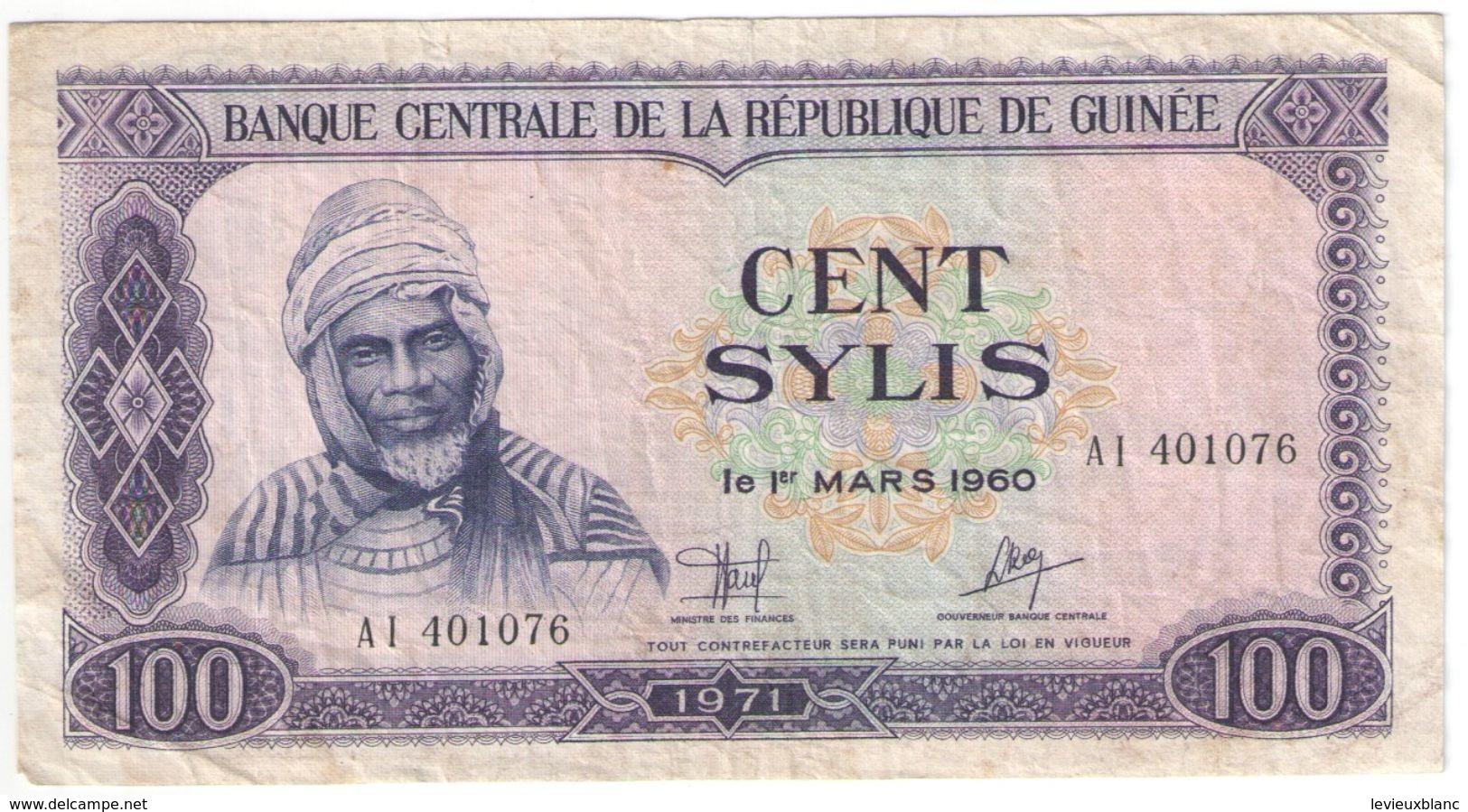 100 SYLIS/Banque Centrale De La République De GUINEE /1960/1971                                              BILL174 - Guinée
