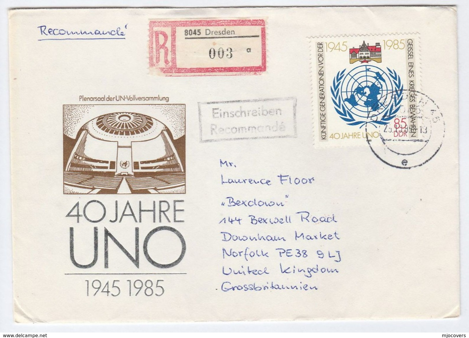 1985 REGISTERED East Germany FDC UNITED NATIONS Stamps Cover Un Ddr - UNO