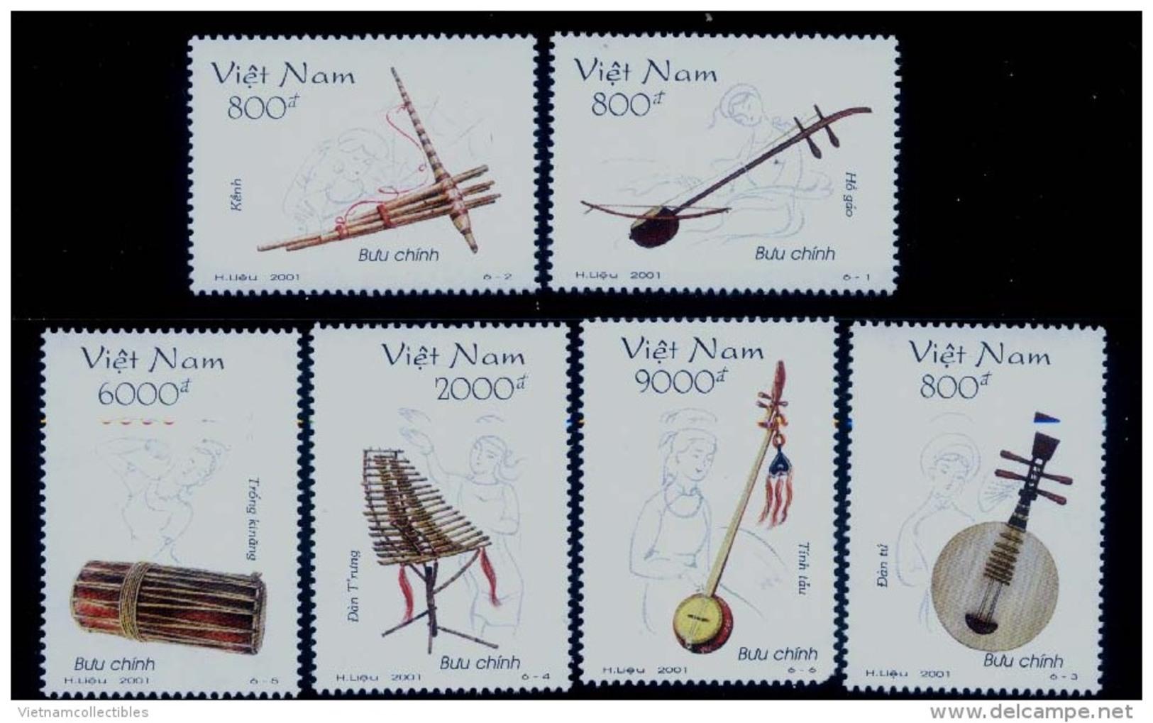 Vietnam Viet Nam MNH Perf Withdrawn Stamps 2001 : Vietnamese Traditional Musical Instruments / Music (Ms870) - Vietnam
