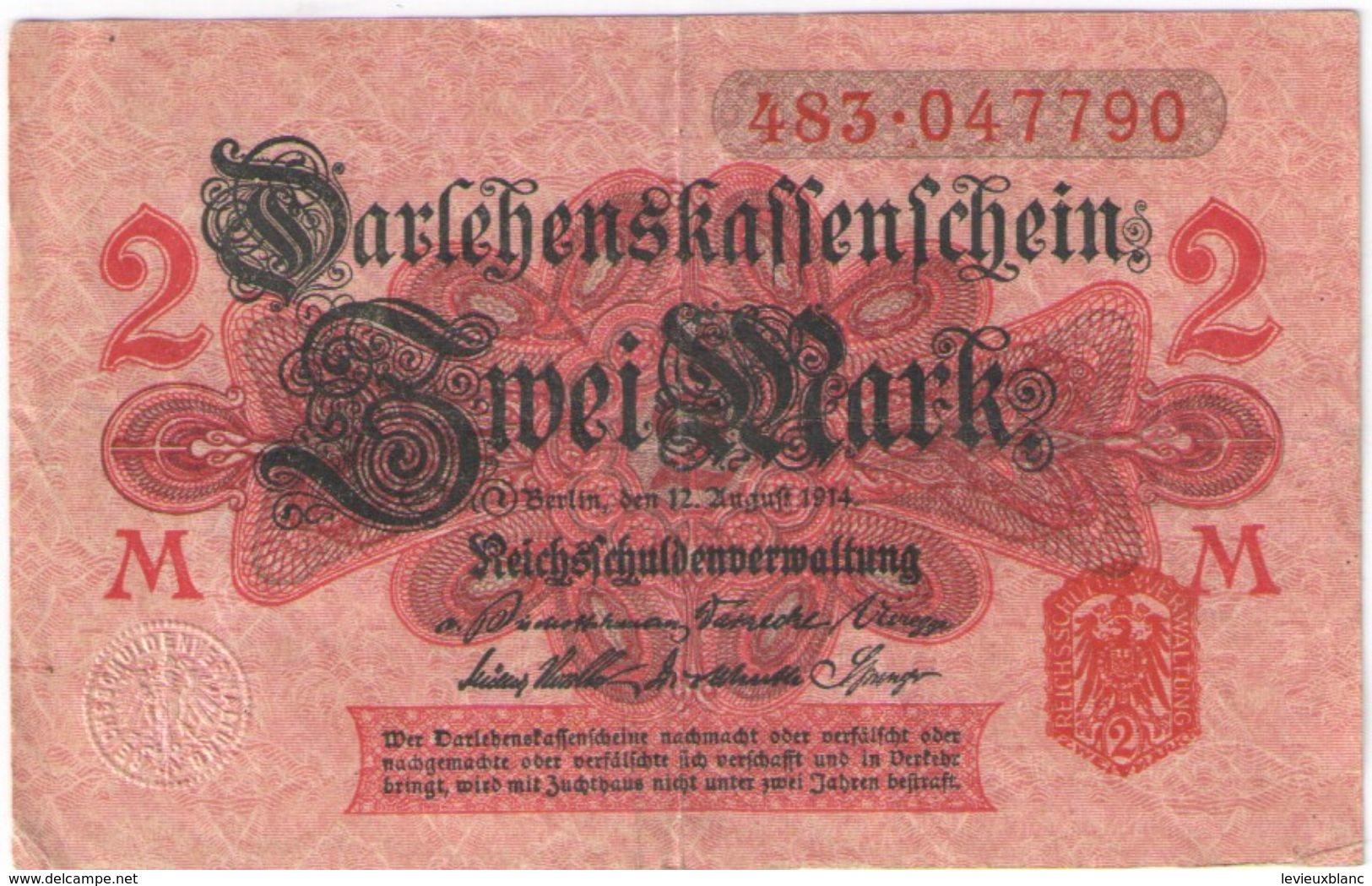 2 Mark /  Twei Mark/Reichsfchulderverwaltung/1914                BILL191 - Altri
