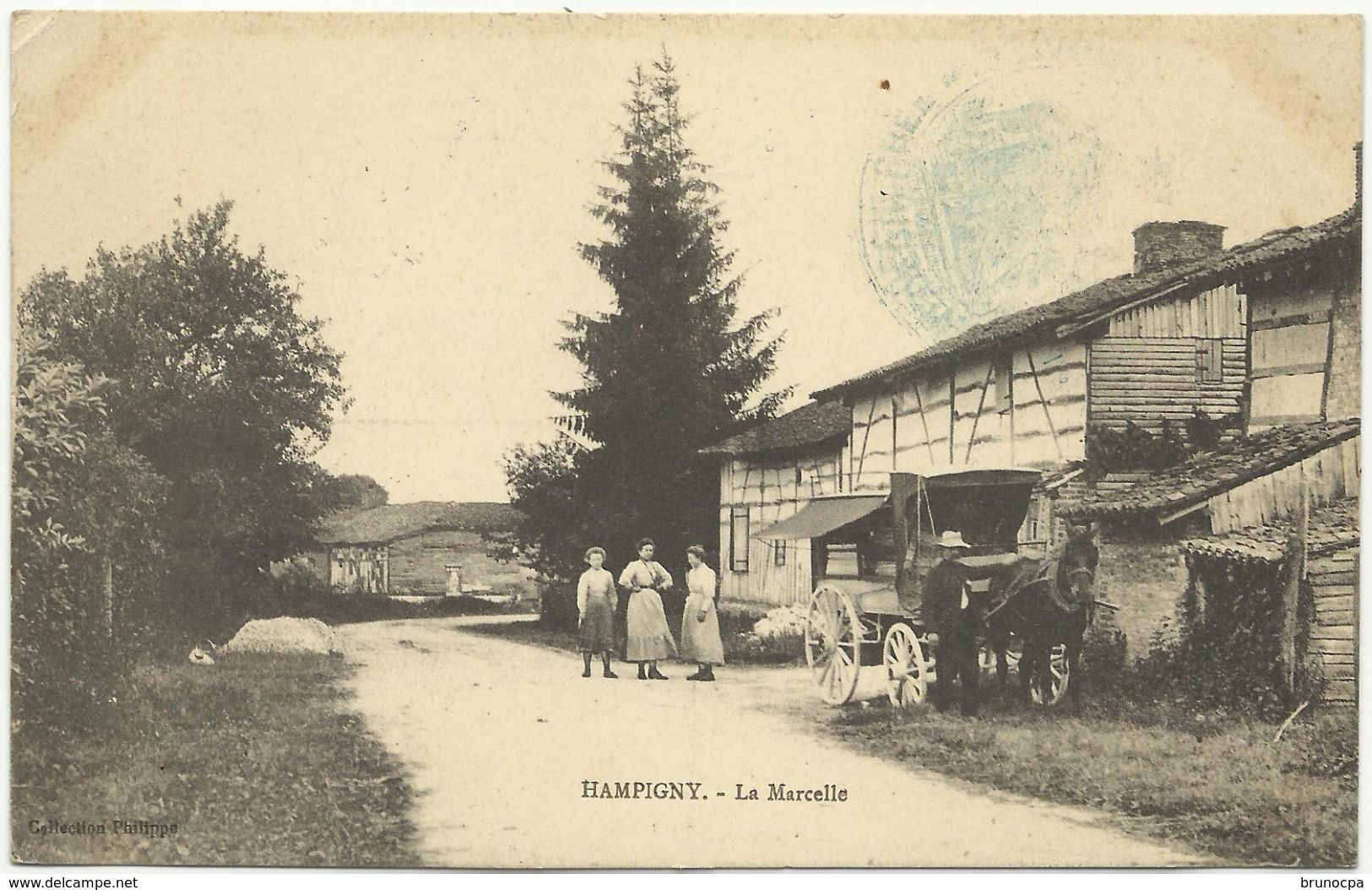 HAMPIGNY MARCHAND AMBULANT  La Marcelle, Attelage, - France