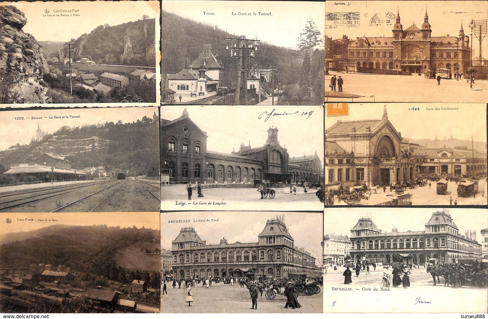 Lot De 77 Cartes Gare Station Statie Belgique (Spontin, Hockai, Liège, Bruxelles, Anvers, Namur, Tram, Tramway..) - Stations Without Trains