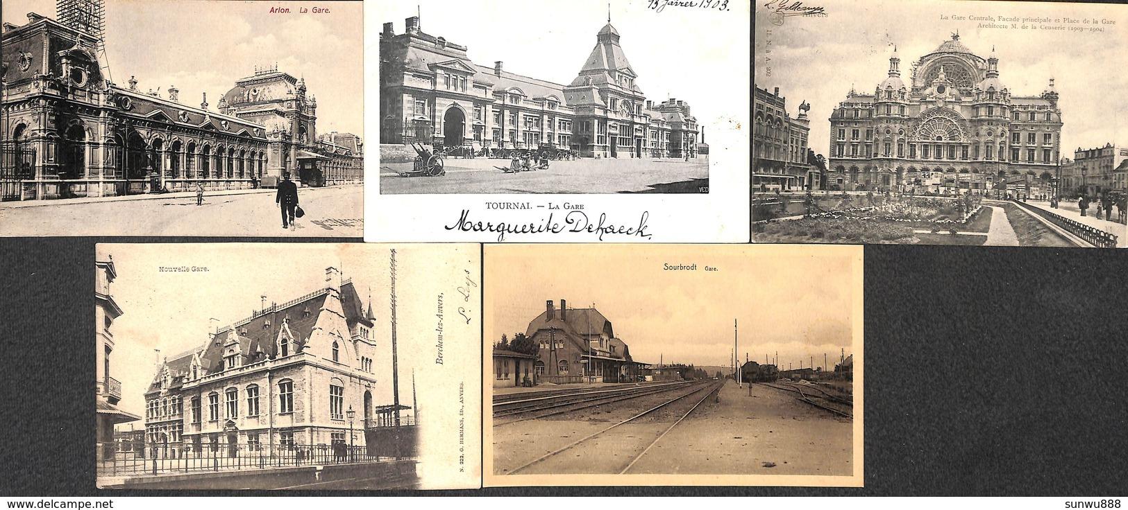 Lot De 77 Cartes Gare Station Statie Belgique (Spontin, Hockai, Liège, Bruxelles, Anvers, Namur, Tram, Tramway..) - Gares - Sans Trains