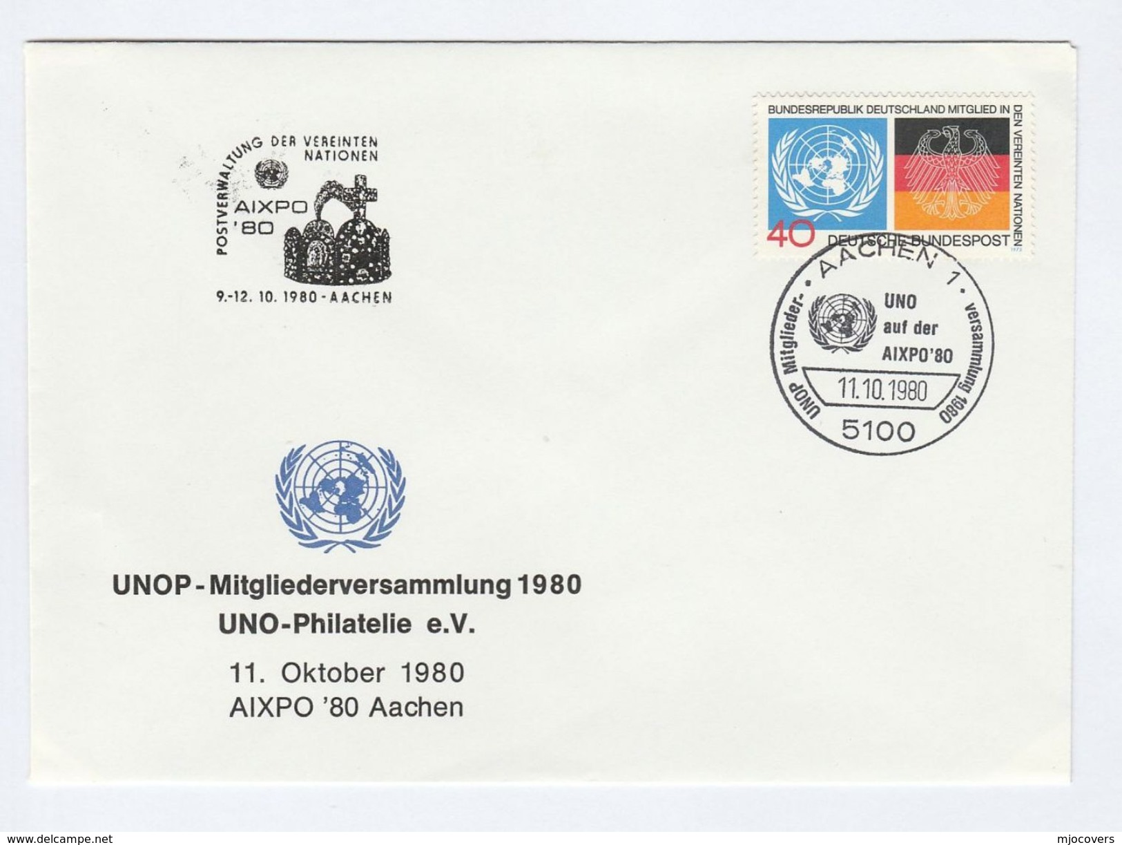 1980 Aachen GERMANY Un UNITED NATIONS EVENT COVER Stamps - UNO
