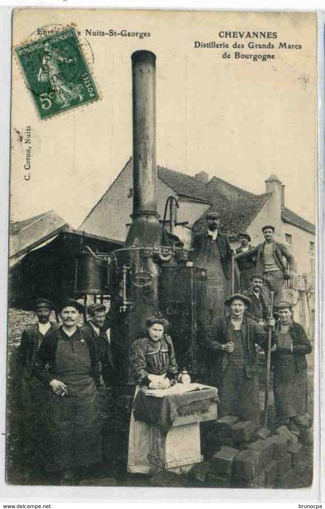CHEVANNES, Distillerie Des Grands Marcs De Bourgogne,environs De NUITS Saint Georges Rare, Très Beau Plan - Autres Communes