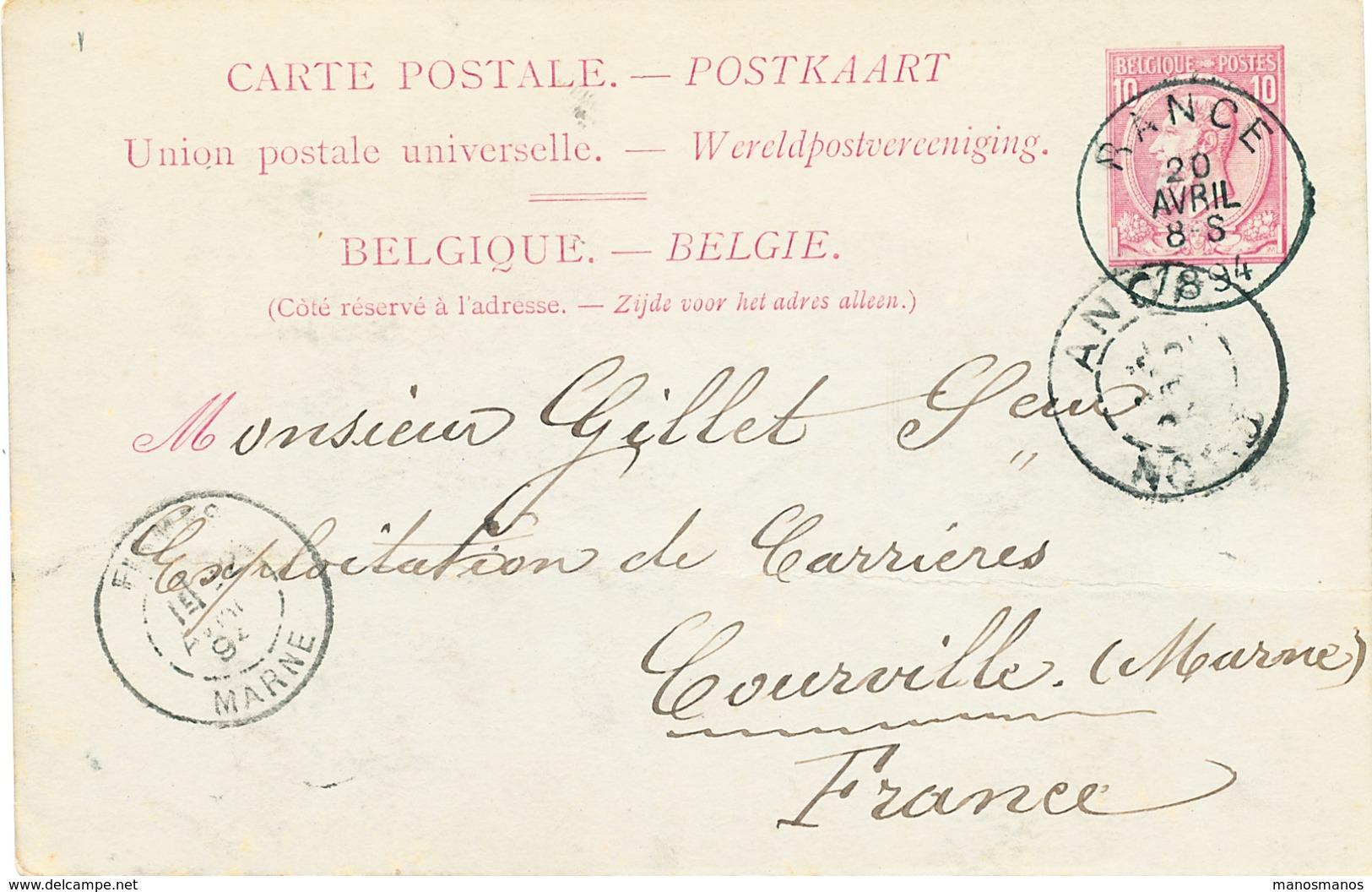824/25 - Entier Postal Type TP 46 RANCE 1894 Vers Les Carrières De COURVILLE Via ANOR France - Signée Dropsy Frères - Postcards [1871-09]
