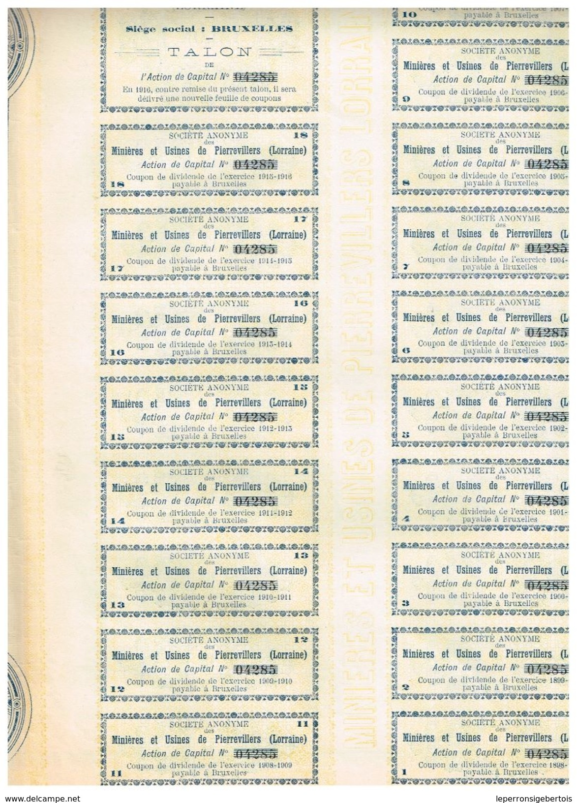 Action Ancienne - Minières Et Usines De Pierrevillers (Lorraine) - Titre De 1898 - Industrie