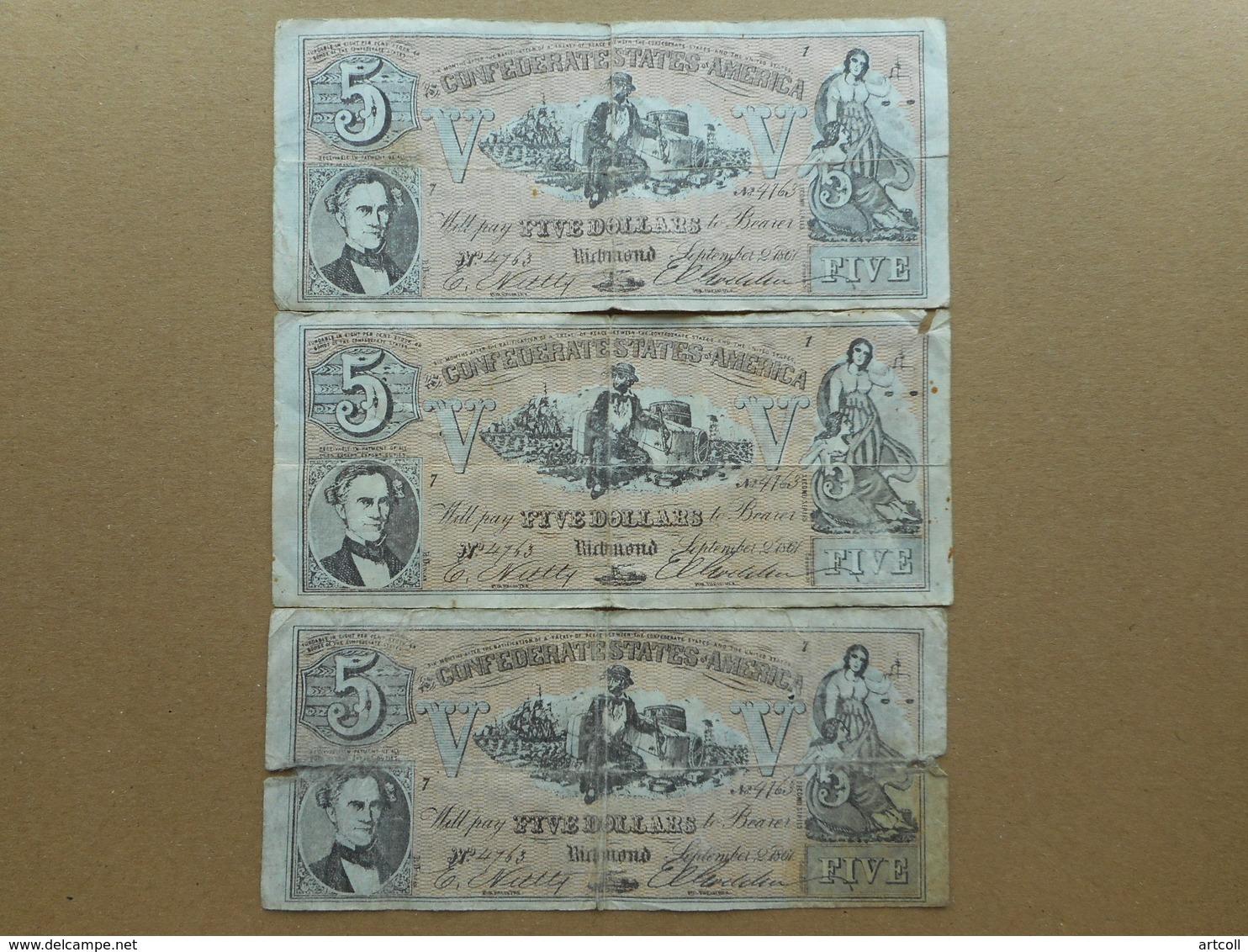United States 5 Dollars 1861 (Lot Of 3 Banknotes) (FAKE) - Valuta Della Confederazione (1861-1864)