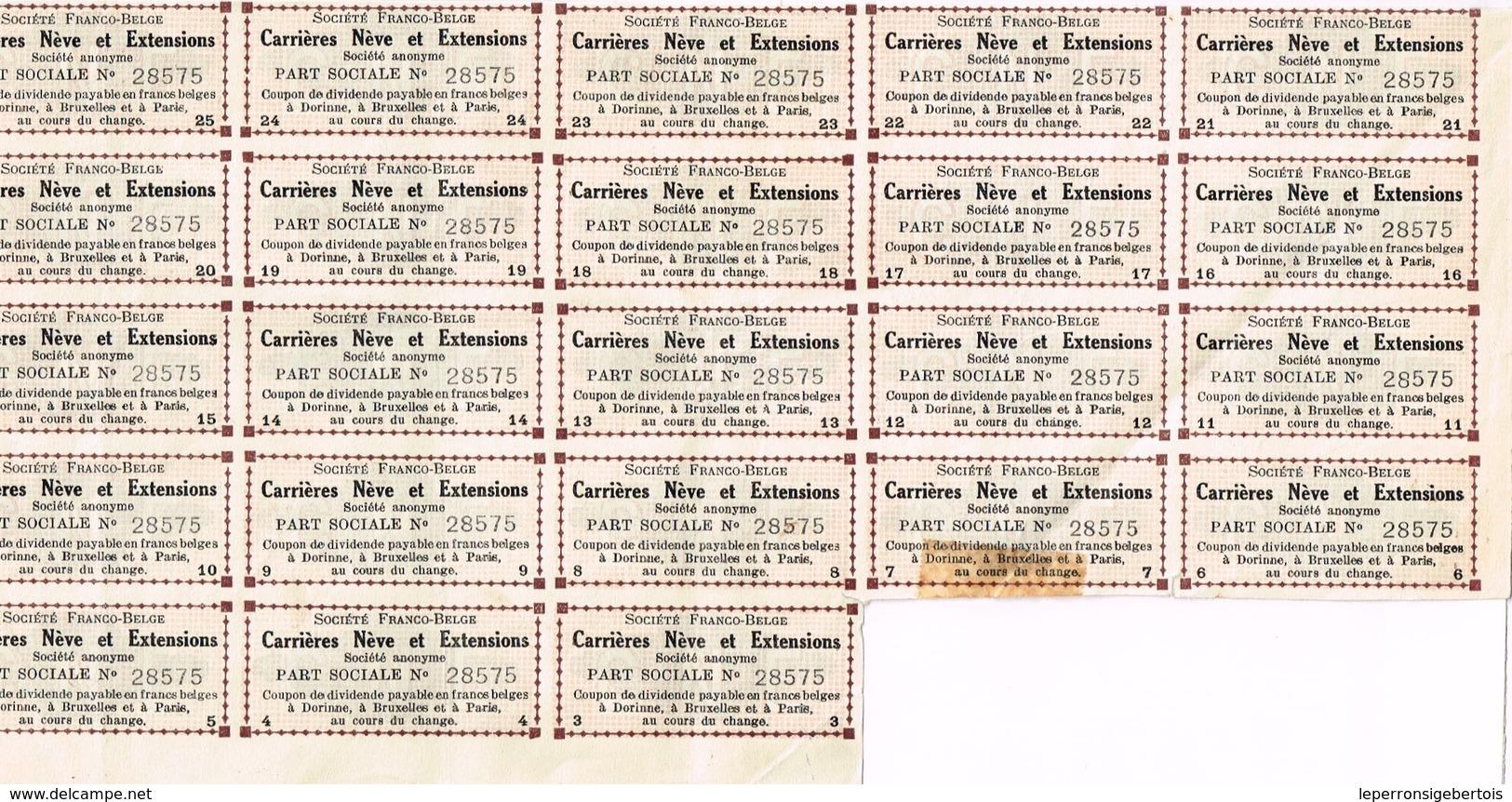 Action Ancienne - Sté Franco-Belge Carrières Nève Et Extensions - Dorinne - Titre De 1928 - Mines