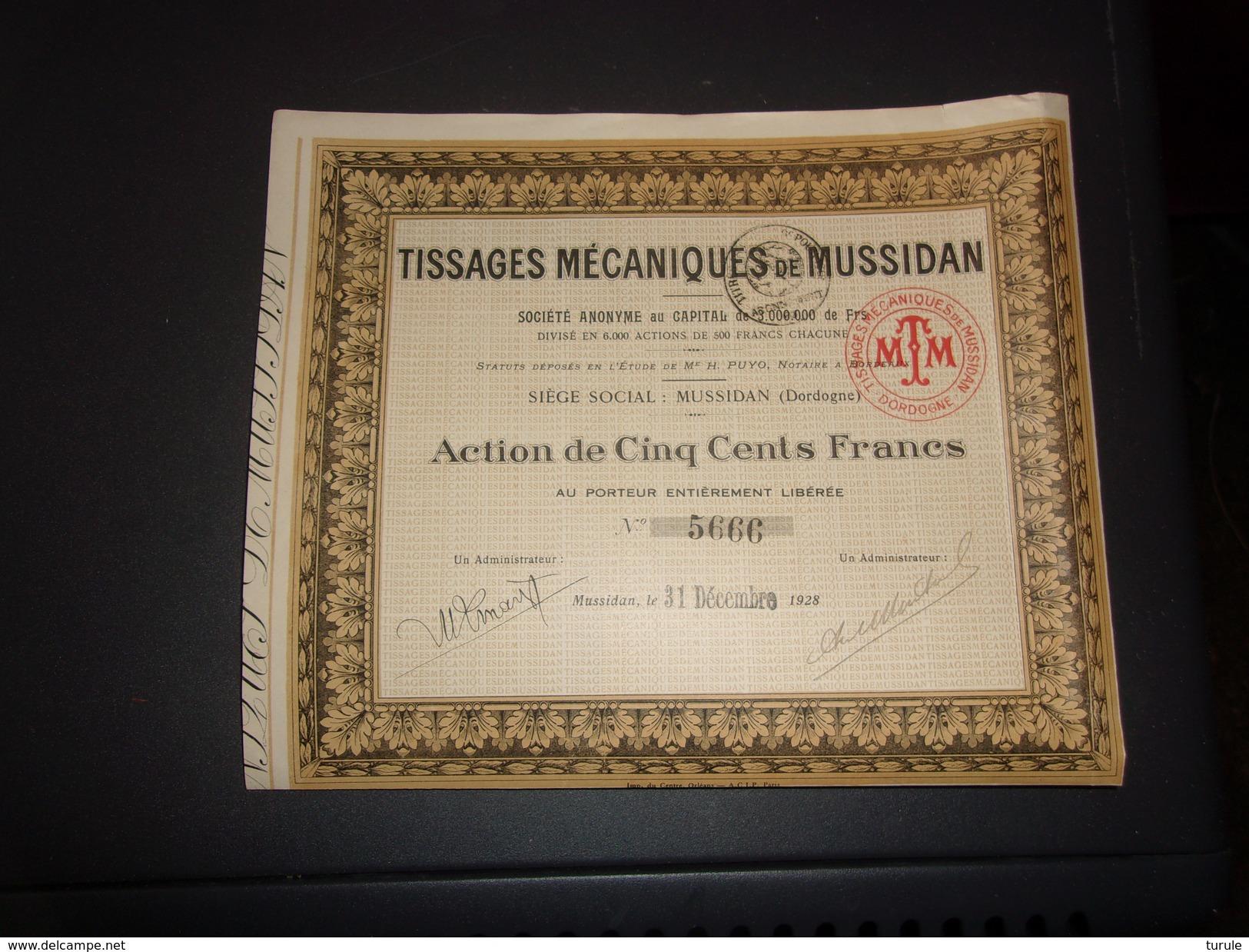 TISSAGES MECANIQUES DE MUSSIDAN (500 Francs) DORDOGNE - Unclassified