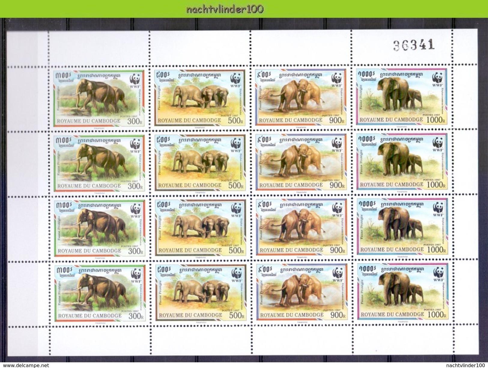 Neh214MSc WWF FAUNA ZOOGDIEREN OLIFANT ELEPHANT MAMMALS ELEFANT CAMBODJA CAMBODGE 1997 PF/MNH - W.W.F.