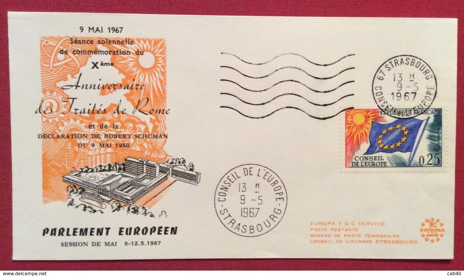 TEMATICA EUROPA FRANCIA   STRASBURGO CONSIGLIO D'EUROPA  X ANN. TRATTATI DI ROMA  9/5/67 - Cartoline