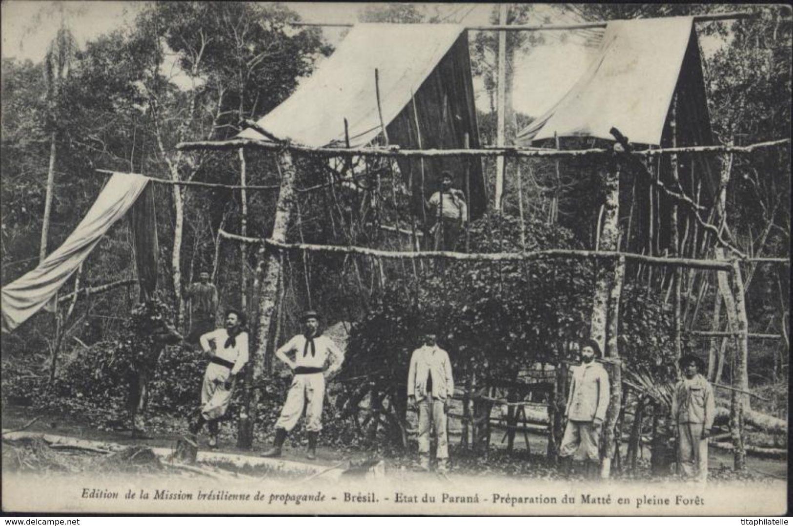 CPA Brésil Etat Du Parana Préparation Du Matté En Pleine Forêt Edition Mission Brésilienne De Propagande - Other