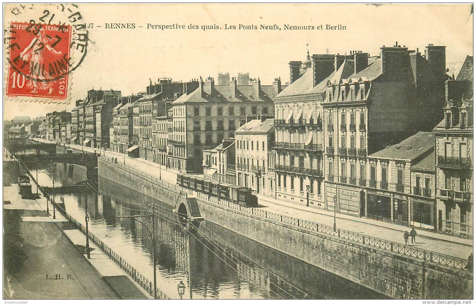 35 RENNES. Quais Avec Les Ponts Neufs Nemours Et Berlin 1912. Train Tramway - Rennes