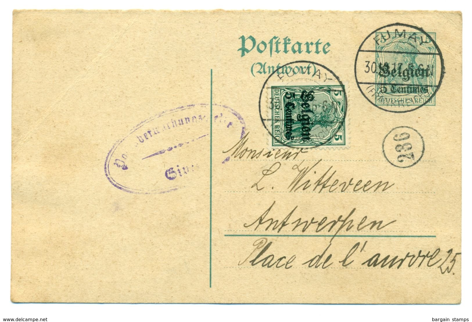 Belgique OC2 Sur Entier 5centimes De Fumay (France) à Antwerpen 30/10/1917 - Guerre 14-18