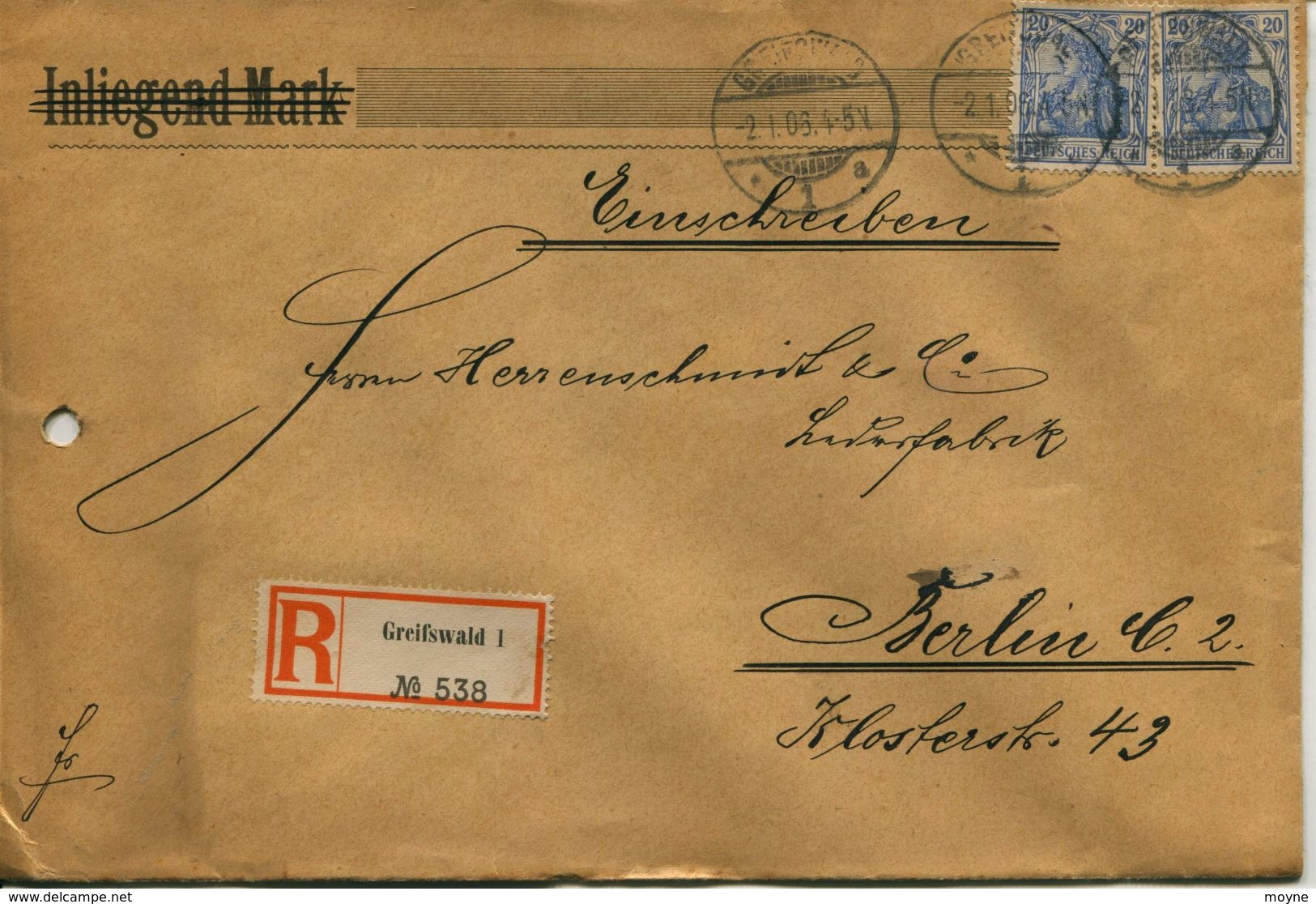 ENV 7 - Allemagne - Brief Geladen - LETTRE CHARGEE De  GREIFSWALD à  BERLIN   1/02/.1906  - 2 Timbres 20  D.Reich Bleu - Deutschland