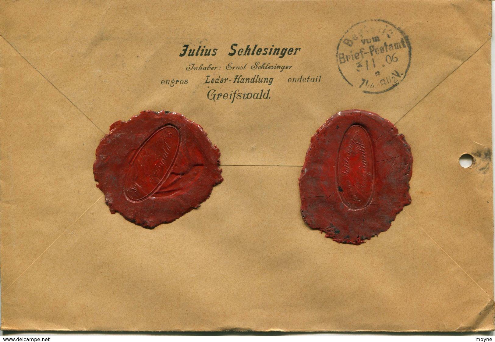 ENV 7 - Allemagne - Brief Geladen - LETTRE CHARGEE De  GREIFSWALD à  BERLIN   1/02/.1906  - 2 Timbres 20  D.Reich Bleu - Germany