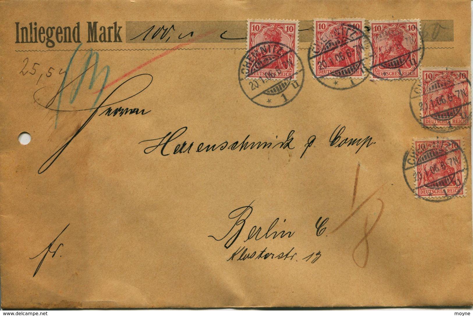 ENV 9 - Allemagne - Brief Geladen - LETTRE CHARGEE De  CHEMNITZ à  BERLIN   20/01/.1906  - 5 Timbres  10 Rouge  D.Reich - Deutschland
